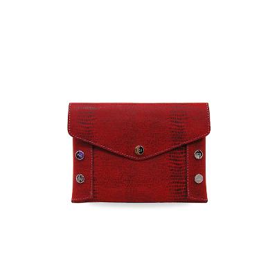 buckle pointed clutch red